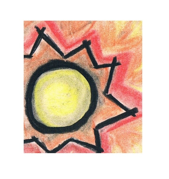 Original Sun ACEO Trade Card Aztec Inspired Miniature Charcoal Pastels Art