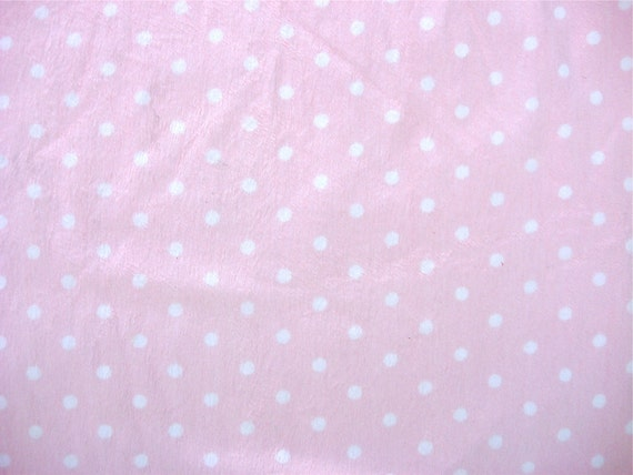 1 yrd Pink and White Polka Dot Minky Fabric