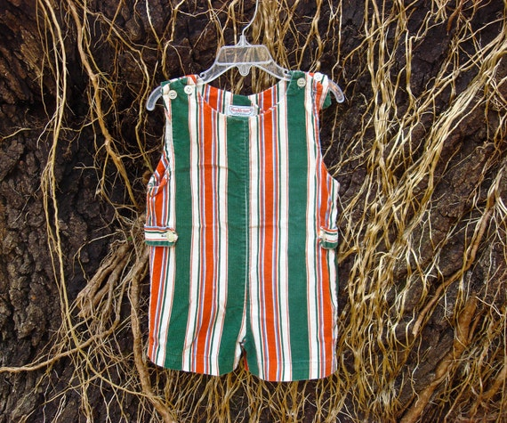 Vintage Super Cute Green and Orange Corduroy Striped Health Tex Shortalls 3/4