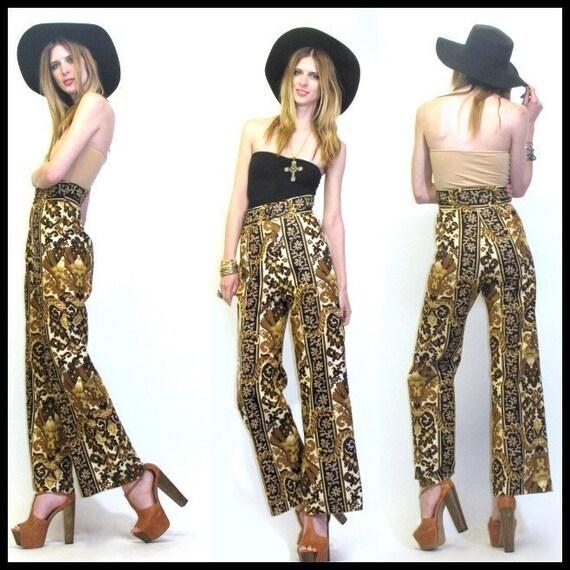 reserved for elliceblakeney VTG vintage 70s high waist tapestry hippie boho bell bottoms novelty pants