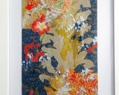 """Original Abstract Acrylic Painting Collage 8.5""""x5.5"""" by Kathryn Neale Studio"""