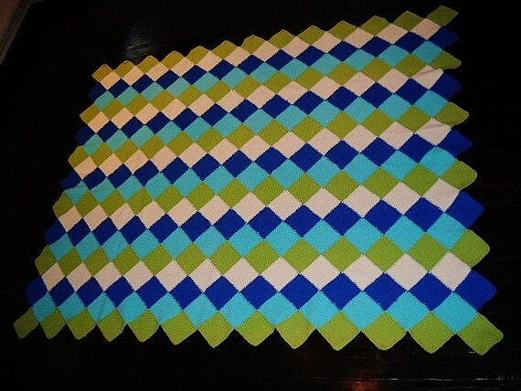 MID CENTURY MODERN throw blanket harlequin pattern hand made atomic turquoise chartreuse blue and off white 1950 Len Koelzer