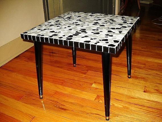 MOSAIC TILED TABLE mid century modern side table black gray white amoeba tile top black wood legs brass caps