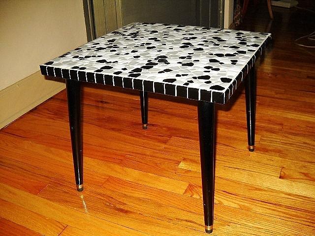 MOSAIC TILED TABLE Mid Century Modern Side Table Black Gray