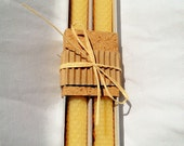 """100% Pure Beeswax Hand Rolled Honeycomb Candles 8 1/2"""" x  3/4"""" Taper -pair"""