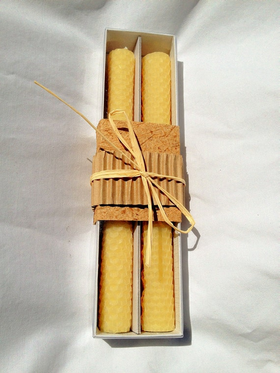"100% Pure Beeswax Hand Rolled Honeycomb Candles 8 1/2"" x  3/4"" Taper -pair"