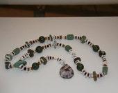 "Handmade Organic natural  gemstone necklace 32"" Loving Crafted from Grandma's Vintage Beads, Pearls, Gemstones"