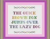 The quick brown fox jumps over the lazy dog: nerdy pangram cross-stitch pattern