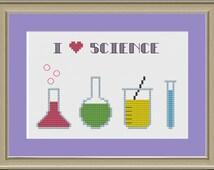 I love science: nerdy cross-stitch pattern