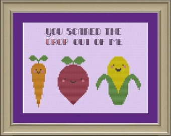 You scared the crop out of me: cute vegetable cross-stitch pattern