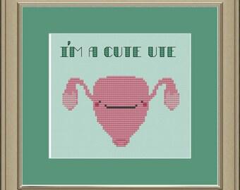 I'm a cute ute: uterus cross-stitch pattern