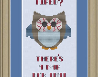 There's a nap for that: funny owl cross-stitch pattern