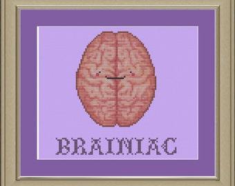 Brainiac: funny human brain cross-stitch pattern