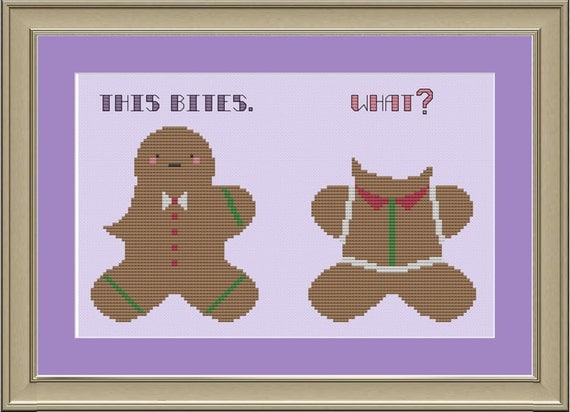 This bites: funny Christmas cookie cross-stitch pattern