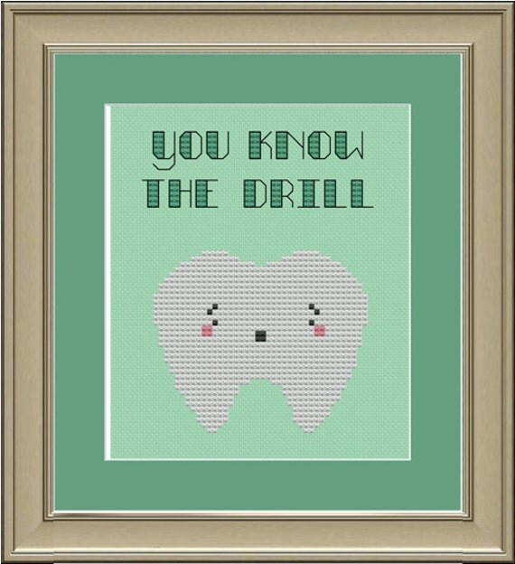 You know the drill: cute tooth cross-stitch pattern