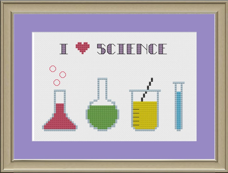 I Love Science Nerdy Cross-stitch Pattern