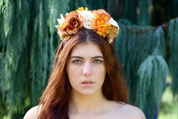 Orange, bronze & cream Flower Headpiece/Fascinator