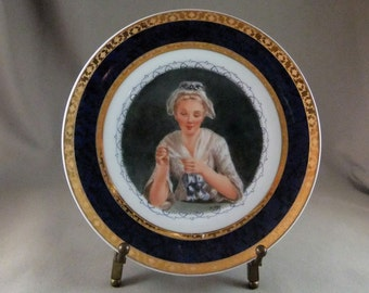 Miniature portrait hand painted on a porcelain plate