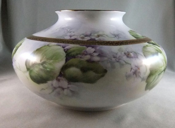 Hand painted double violets on porcelain vase with decorative gold band
