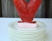 Funky Vintage Wooden Heart - little whimsical sculpture-hand-carved, hand-painted