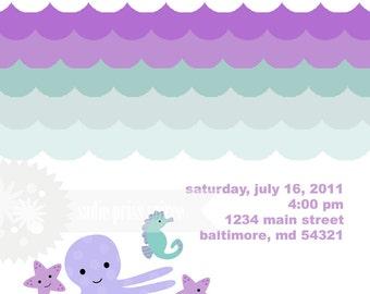 Seashore Girl  Birthday Invitation