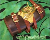 Leather Steampunk Watch Bracer - sundial and compass