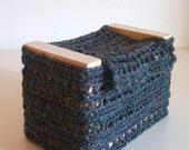 Beautiful handmade jewelry box  in wood and wool crochet.