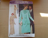 "70s 12 34"" Cowl Neck Grecian Cocktail Dress Gown Jacket PATTERN Simplicity 6217"