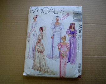 80s 14 16 18 Wedding Bridal Gown PATTERN Puff Sleeves Bustle Train McCalls 3534