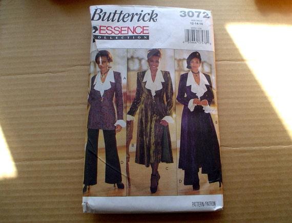 90s 12 14 16 Frock Duster Coat Ruffle Blouse Pencil Skirt Wide Leg Pants PATTERN Butterick 3072 Essence Collection Steampunk