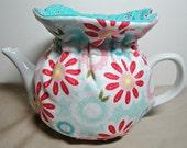 "Tea Cozy Cosy Handmade Designer Fabric Reversible 4-6cup ""Flower Power"""