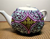 "Tea Cozy Cosy Handmade Designer Fabric Reversible 4-6cup Ruffle Less "" Afternoon of Splendor"""