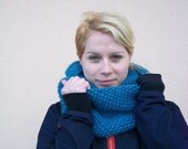 turquoise cowl knitting oversize seamless shawl thick wool teal cozy fall 2012
