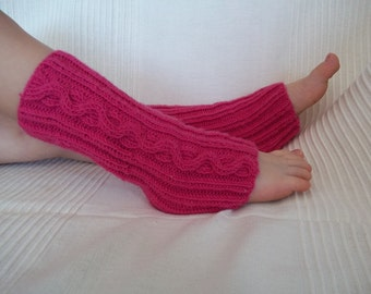 pink leg warmers knitting cable seamless merino wool toddler