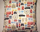 """London Town 16"""" Cushion with Cushion Pad. London by Makower- Patriotic Design."""