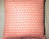 "Elephants 16"" Cushion with Cushion Pad. Daiwabo Tip Top Elephants- White on Pink"