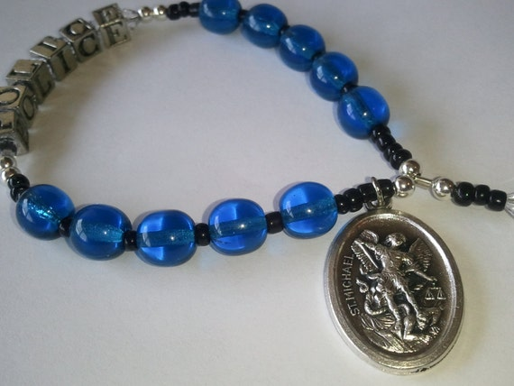Personalized Police Rosary Chaplet, Blue/Black Chaplet with Swarovski accents