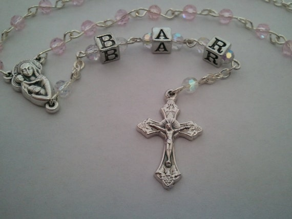 Precious Pink Baby's Personalized Keepsake Rosary, Baby's Baptism Rosary