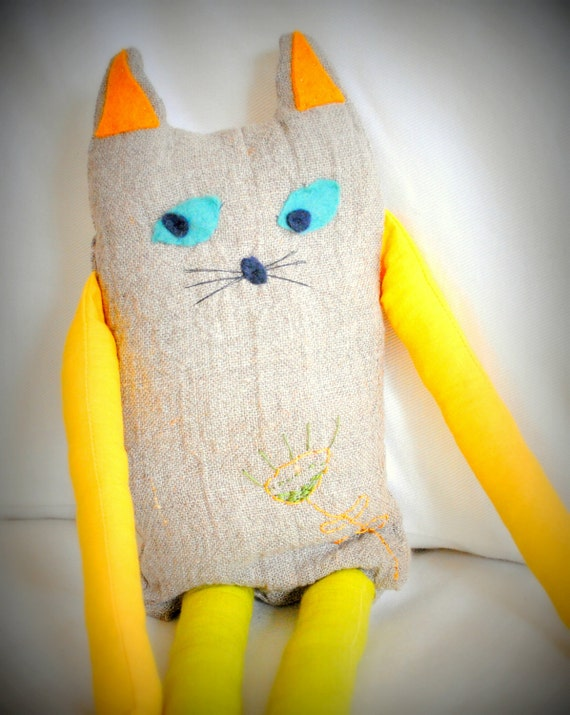 Natural Linen Cat Soft Toy with Flower Embroidery