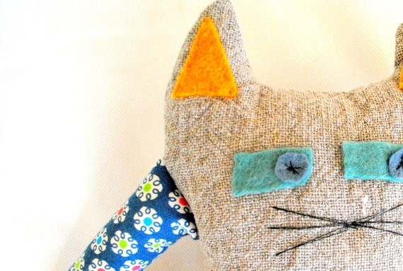 Natural Linen Fantasy Cat Soft Toy Pepito