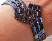 Bracelet Blue Iris Tila Beads Amethyst and Violet Seed Beads