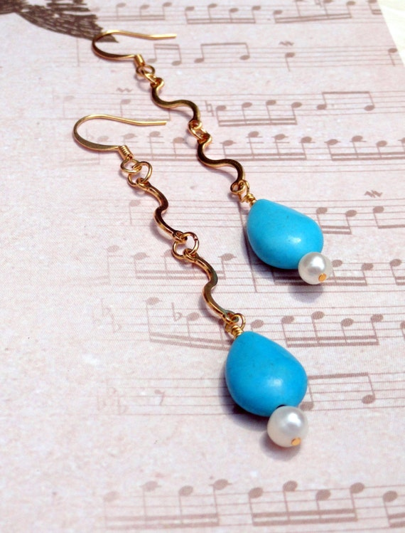 Turquoise Teardrop, White Pearl and Gold Swirl Earrings