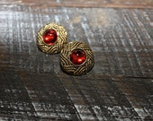 Golden Ruby-Vintage Button Earrings Nautical Classy- Unbuttoned Collection