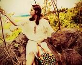 Wonderland From Tharina. Hand Woven Jacquard Fabric Tote Bag. Black W/ Multi Color & Orange Leather.