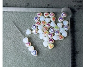 Translucent White AB Hearts - Czech Glass Beads - 60 - 6mm