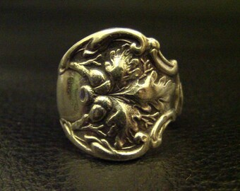 Antique Oak Leaf // Acorn Rare 1906 Silver Spoon Ring