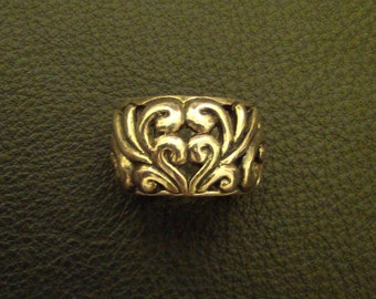 Double Heart Scroll // Filigree .925 Stamped Sterling Silver Ring