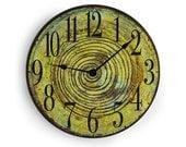 10 inch wall clock - Green Wall clock with dark swirl middle.