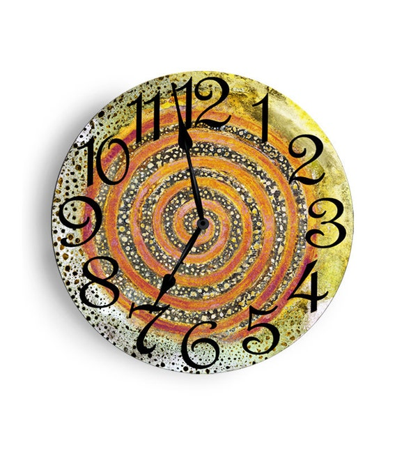 12 inch clock- Circle Design - Light green and turquoise clock with spots.