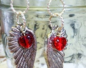 Angel's wing and heart french hook earrings